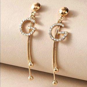 NEW Gorgeous Rhinestone G Tassel Drop Earrings